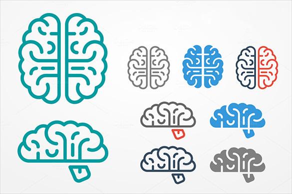 9 flat simplistic human brain vectors