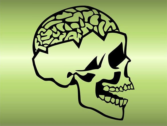 free human skull and brain vector