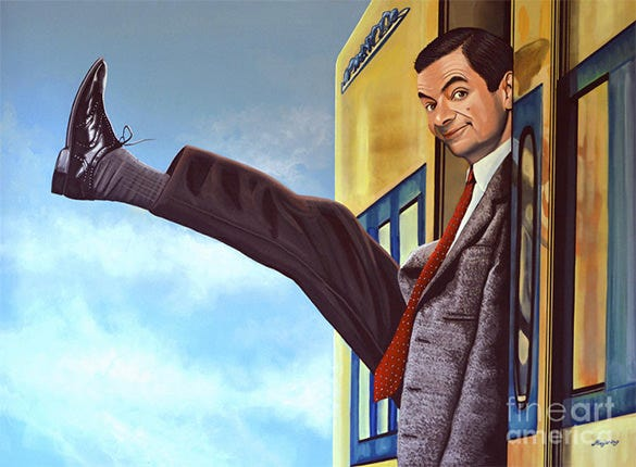 mister bean on holiday painting