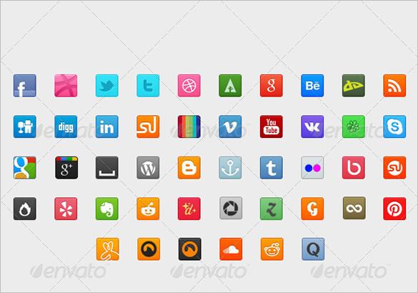100 premium social media buttons