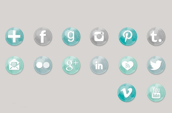 165 watercolor social media buttons