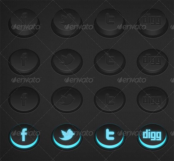 3d premium social media buttons