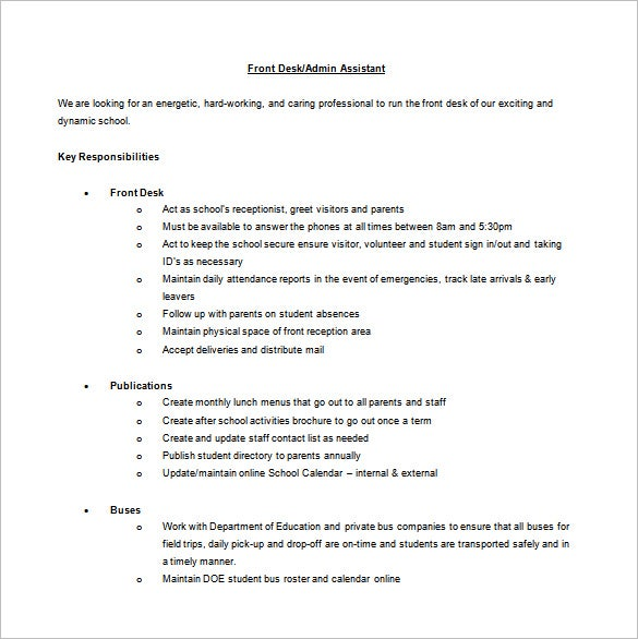 10 receptionist job description templates free sample example
