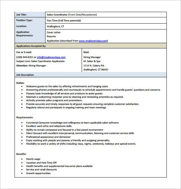 Receptionist Job Description Template - 11+ Free Word, PDF