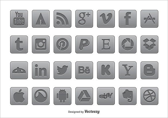 gray social media buttons free download