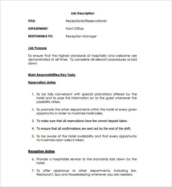 Receptionist Job Description Template   Free Word  Format