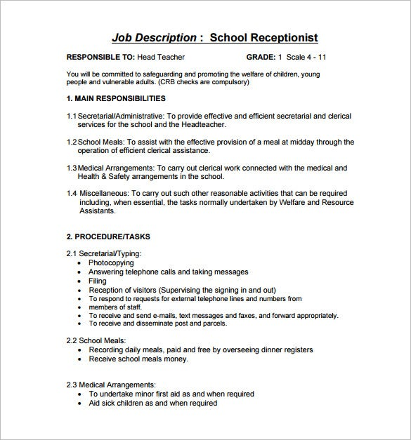 10 Receptionist Job Description Templates Free Sample Example – Medical Receptionist Job Description