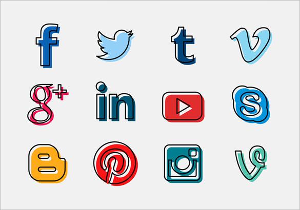 free vector social media buttons