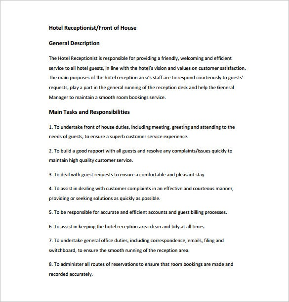 Receptionist Job Description Template 9 Free Word PDF Format – Word Job Description Template