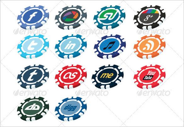 casino chip social media button