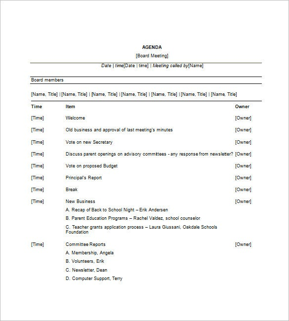 18 Meeting Agenda Templates Free Sample Example Format – Meeting Agenda