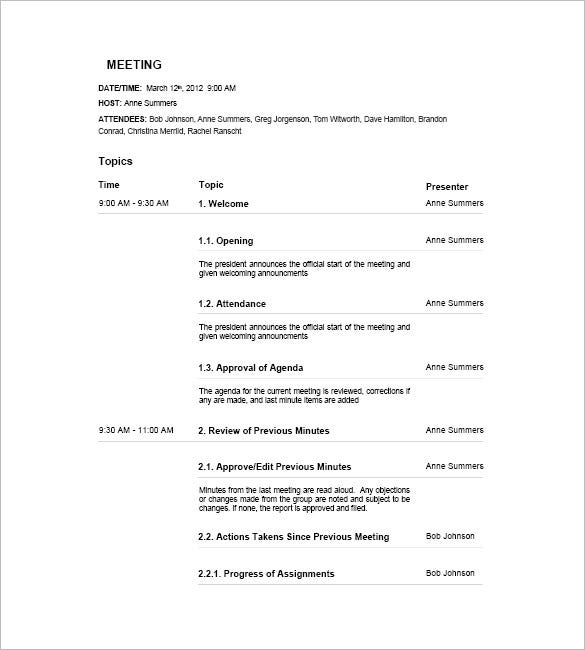 Meeting Agenda Templates  Free Sample Example Format  Free