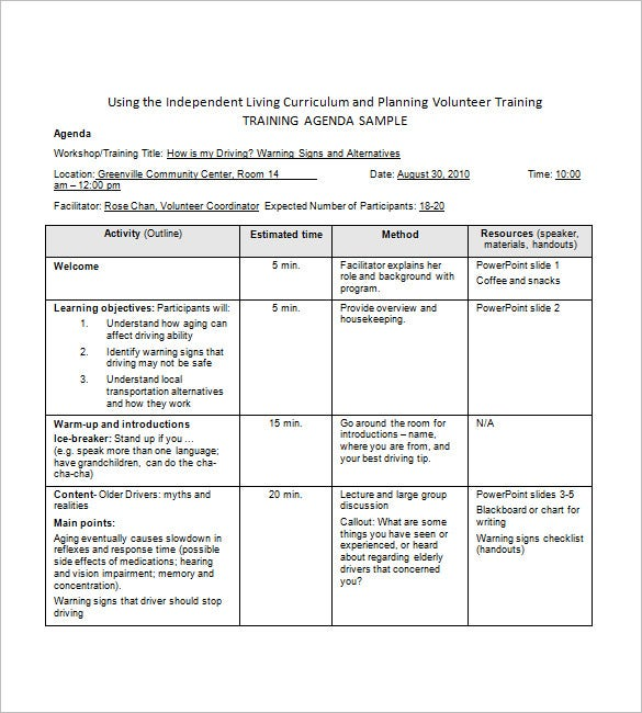 training agenda template in word1