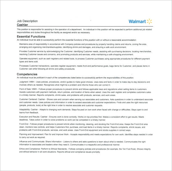 walmart cashier job description free pdf template