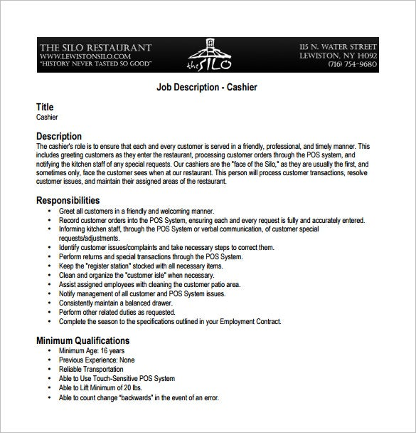 cashier job description for restaurant pdf free download