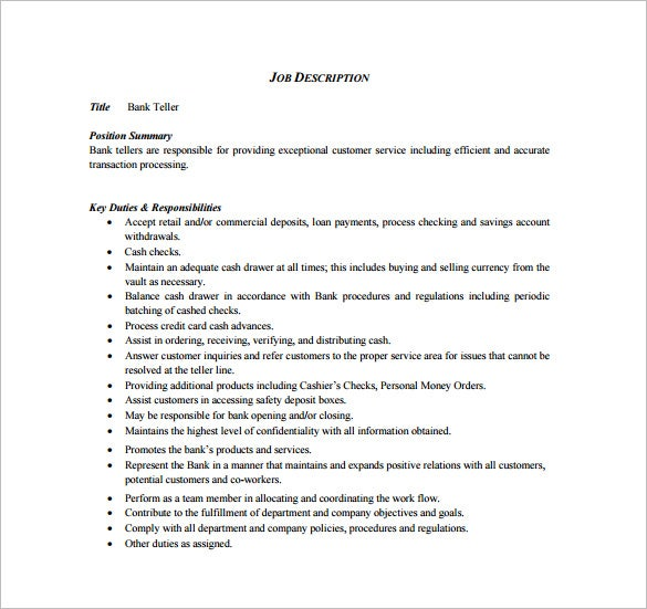 bank cashier job description free pdf template