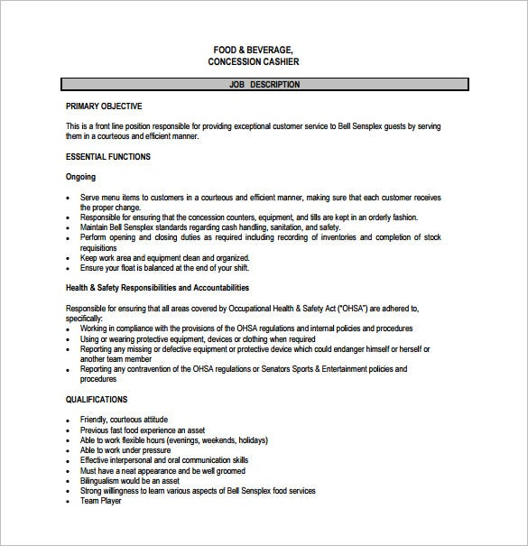 free cashier job description for fast food pdf download