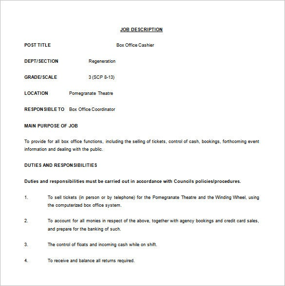 box office cashier job description free word template