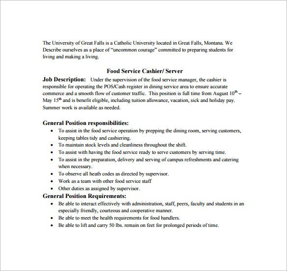 free food service cashier job description pdf download