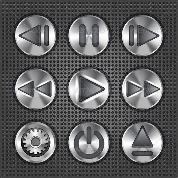 stylish multimedia metallic buttons