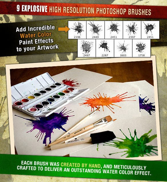 water color splatters photoshop brush