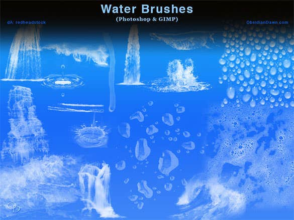 free download water photoshop and gimp brushes