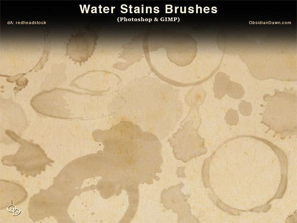 free waterstains photoshop and gimp brushes