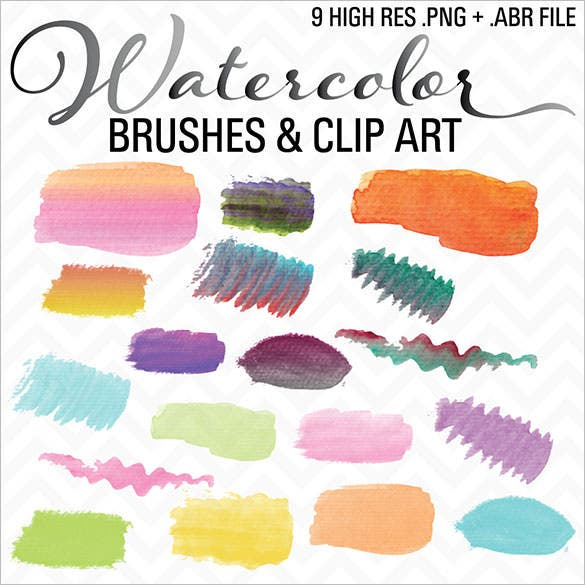 watercolor brushes clip art abr file download