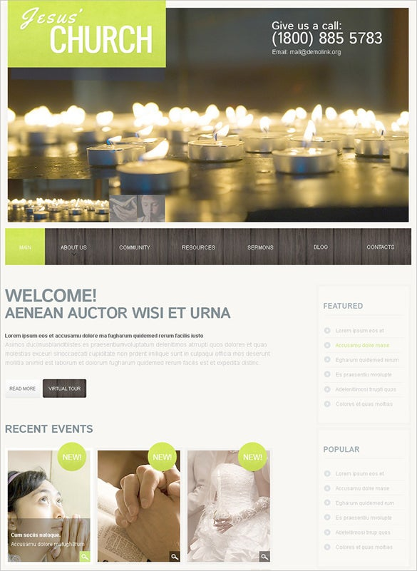 pretty church psd theme