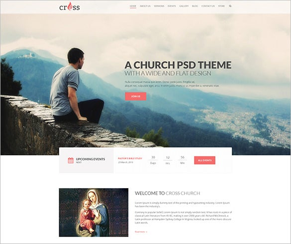 cross church psd template