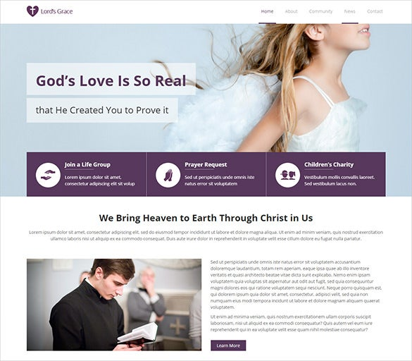 simple church psd theme
