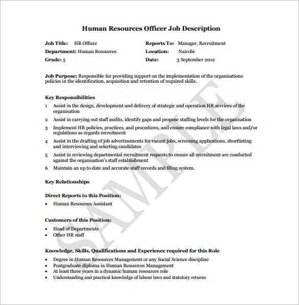 free human resource officer job description pdf download
