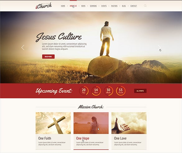 premium responsive church psd theme