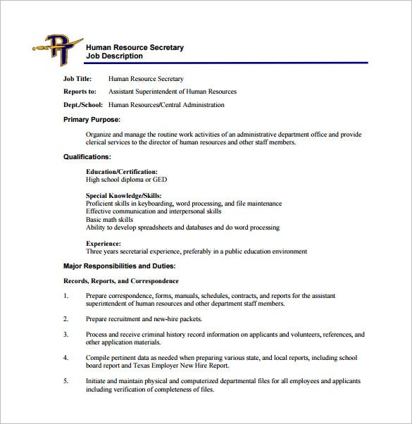 human resource secretary job description free pdf template