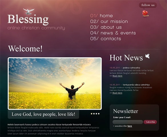 online church psd theme