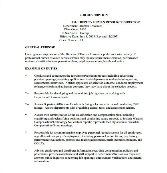9+ Human Resource Job Description Templates – Free Sample, Example