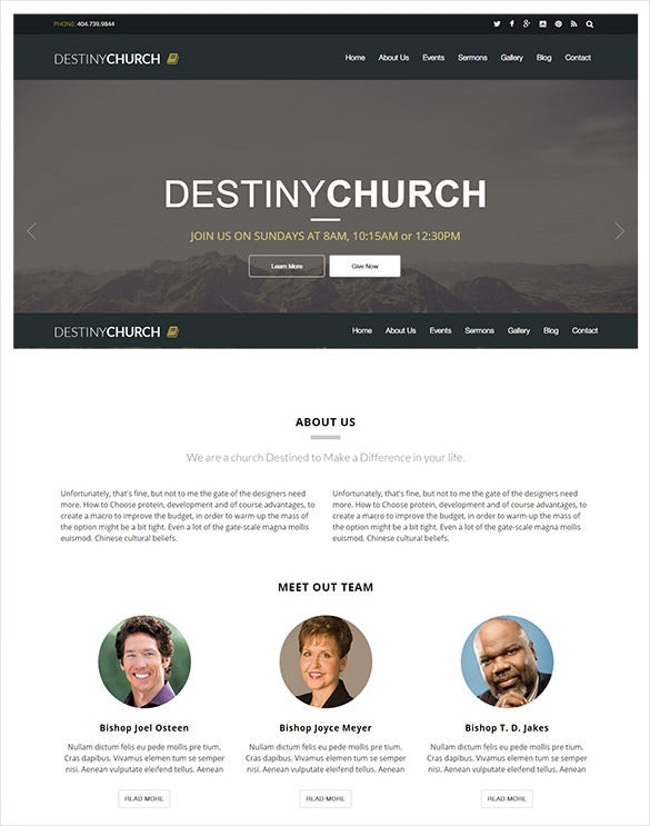 simple responsive church psd theme