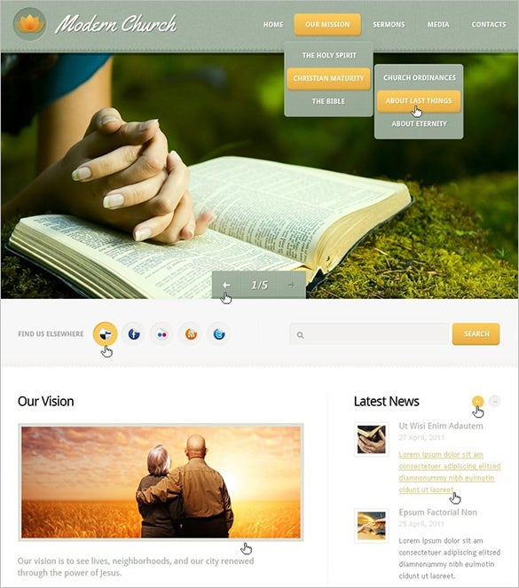 modern church psd theme