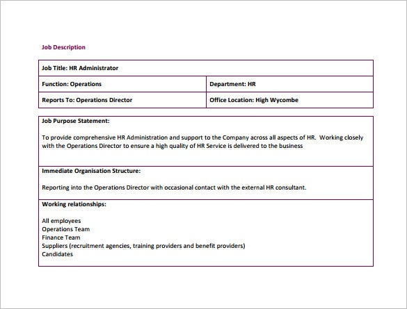 hr administration job description free pdf template download