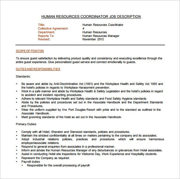 human resource coordinator job description pdf free download