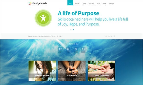 family church psd template