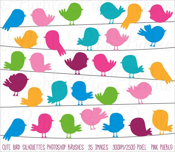 premium cute bird silhouette photoshop brush