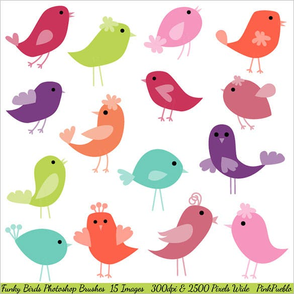 funky birds photoshop brushes abr design