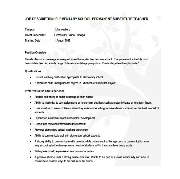 Permanaet Substitute Teacher Example Job Description For Elementary School  Free Download