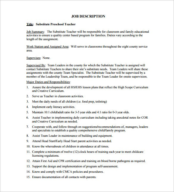 Substitute Teacher Job Description Templates  Free Sample