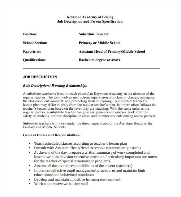 Substitute Teacher Job Description For Mid School PDF Format Free Download  Teacher Job Description For Resume
