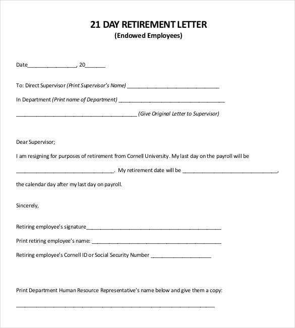 21 day employee retirement letter
