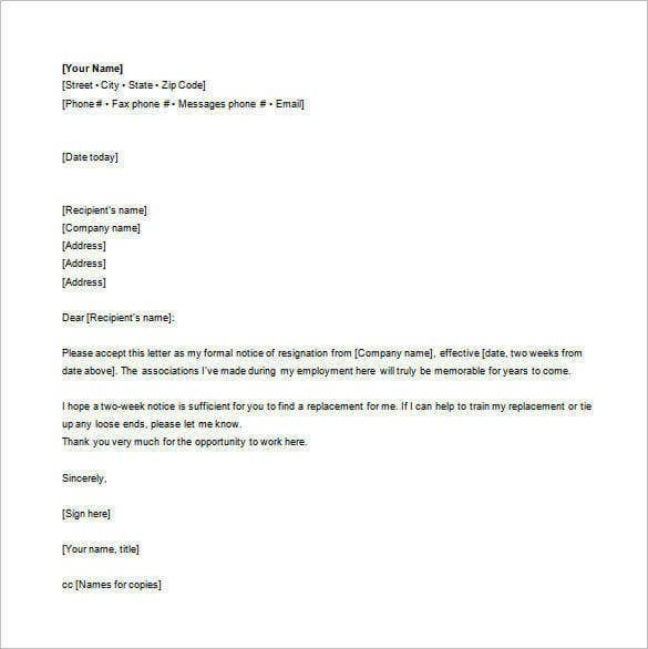 Email Resignation Letter Template - 19+ Free Sample, Example ...