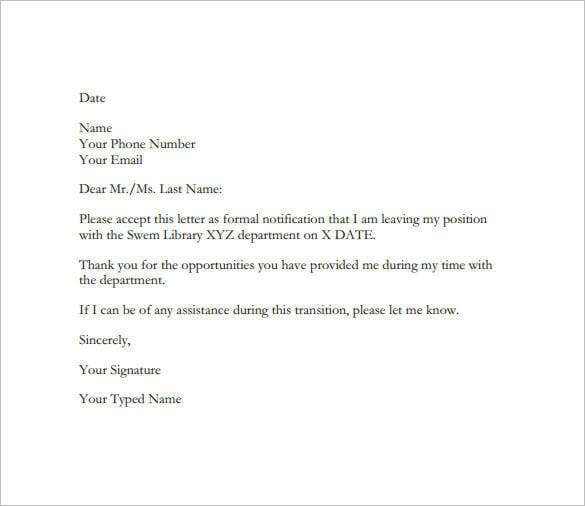 Sample of resignation email.