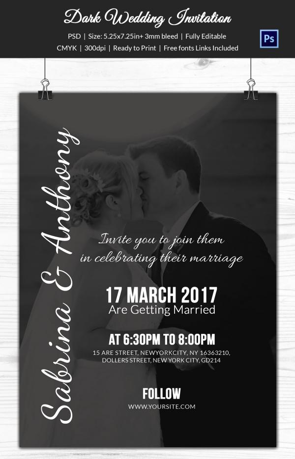 Dark Shaded Wedding Invitation Template